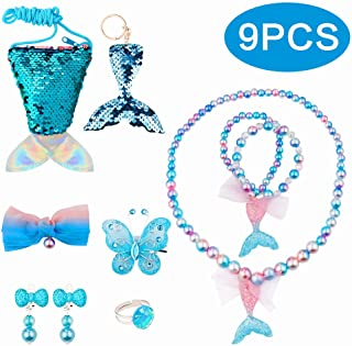 BAOQISHAN 9PCS Mermaid Fishtail Deluxe Girls Party Princess for Necklace and Bracelet Set for Girls Little Kids Include Coin Purse Keychain Necklace Bracelet Hair Clip Earrings Ring Set (Blue)