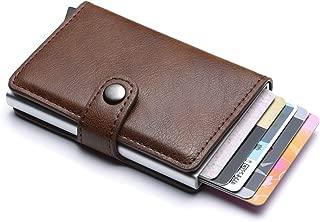TERSELY Credit Card Holder RFID Blocking Wallet Slim Wallet PU Leather Vintage Aluminum Business Card Holder Automatic Side Slide Trigger Card Case Wallet Security Travel Wallet (Coffee)