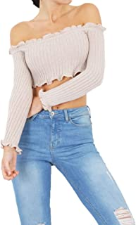 Womens Knitted Frill Bardot Off Shoulder Ribbed Crop Top Ladies Long Sleeve Top