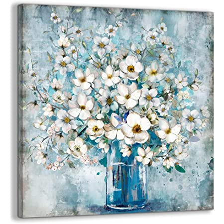 White flowers Wall Art Cotton paintings Original on canvas White and black Wall art Floral decor White flowers cotton Artwork Chic
