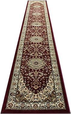 Bellagio Traditional Long Runner Area Rug Design 401 Burgundy (32 Inch X 15 Feet 10 Inch) Runner