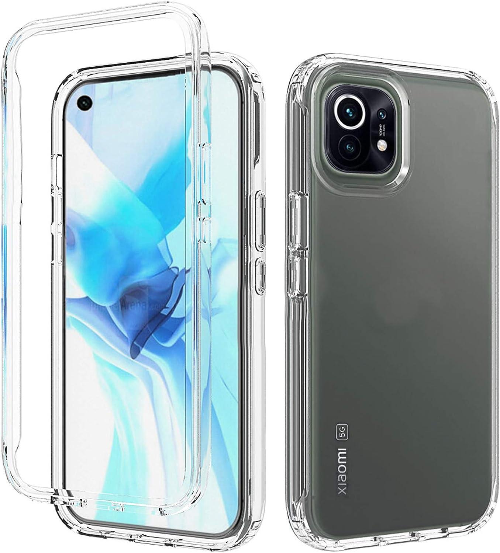 Tianyan Funda Xiaomi Mi 11 5G,360 Grados Full Body Anti-Shock [Transparente Suave TPU Silicona Delantera y PC Duro Trasera] 2 in 1 Protectora Carcasa Funda para Xiaomi Mi 11 5G,Transparente