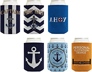 Beer Coolie Nautical Gift Bundle Captain Sailing Boat 6 Pack Can Coolie Drink Coolers Coolies Multi