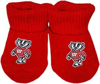 University of Wisconsin Standing Badger Newborn Baby Bootie Sock