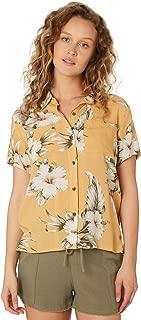 Rip Curl Women's Island Time Party Shirt Short Sleeve Viscose Yellow