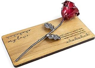 Rosa Forjada sobre Madera con Grabado Personalizado
