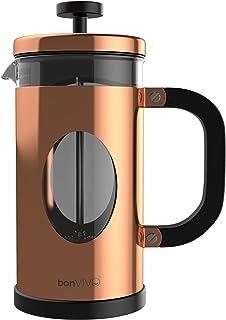 bonVIVO® GAZETARO I cafetera (French Press) de diseño y Prensa Francesa Fabricada con Acero Inoxidable y Vidrio con Acabado en Cobre con filtros, tamaño: 1 L / 1000 ml