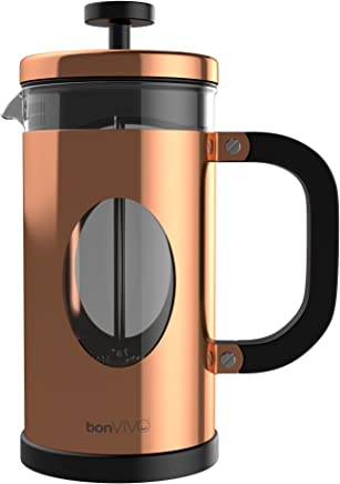 bonVIVO GAZETARO I French Press Coffee Maker, Cold Brew Coffee Makers Machine Made of Stainless Steel And Heat Resistant Borosilicate Glass, Coffee Press in Copper Finish, With Bonus Filter, 34 ounces