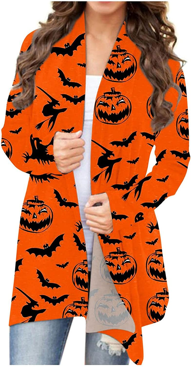Max 82% OFF Halloween Long Sleeve Open Max 46% OFF Front Graphic Tops Cut Cardigan Funny