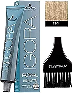 Schwarzkopf IGORA Royal HIGHLIFTS Permanent Hair Color Creme (with Sleek Tint Applicator Brush) Haircolor Cream (12-1 Special Blonde Cendre)