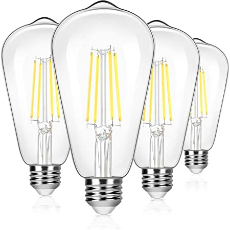 4-Pack Vintage 8W ST64 LED Edison Light Bulbs 100W Equivalent, 1400Lumens, 5000K Daylight White, E26 Base LED Filament Bulbs, CRI 90+, Antique Glass Style Great for Home, Bedroom, Office, Non-Dimmable