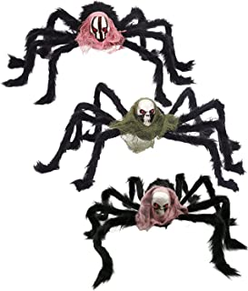 3 Pack Halloween Spiders, Spooky Spider Props Halloween Realistic Hairy Spiders 31In,Scary Giant Spider Fake Large Spider ...