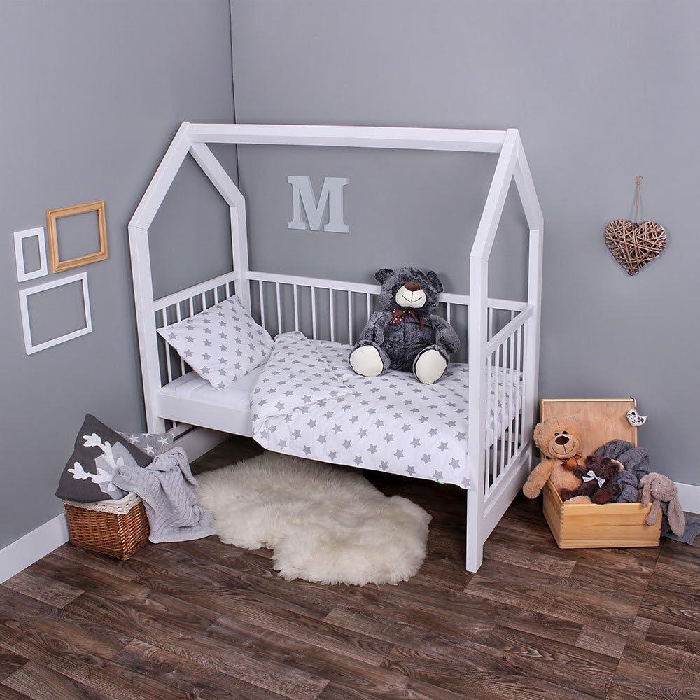 lulando Parure de lit pour enfant Parure de lit 2pièces Taie d'oreiller et housse de couette Grey Stars/White