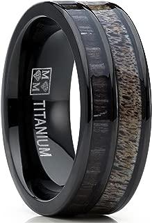 Metal Masters Co. Men's Titanium Ring Wedding Band with Real Deer Antler, Koa Wood Inlay, Outdoor Hunting