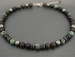 Collana mista di riolite kambaba, ossidiana, pietra vulcanica, ematite, pietre 10mm uomo donna, nero e verde