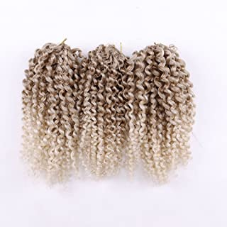 3 pcs/pack Crochet Hair Curly Extensions 8 Inch Synthetic Box Braids Hai (#27/613)