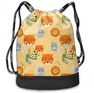 Drawstring Backpack Cartoon Cute Animal Tribal Tiger Lion Faces Water Resistant String Bags Lightweight Custom Fitness Bag...