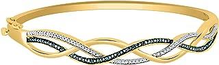 1/6 Ct Blue & White Natural Diamond Infinity Bangle Bracelet In 14K Gold (yellow-gold)