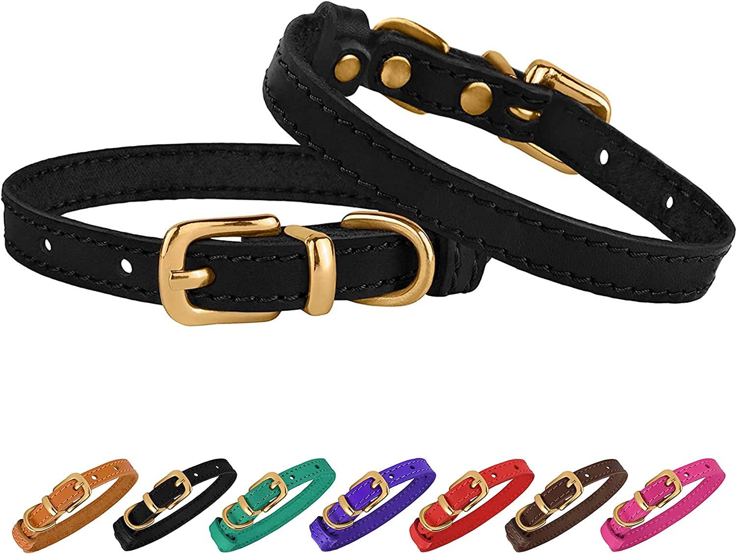 BRONZEDOG Leather Cat Collar Virginia Beach Mall with Adjustable Co New Free Shipping Buckle Pet Small