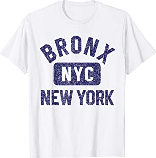 Bronx NYC Gym Style Distressed Navy Blue Print T-Shirt
