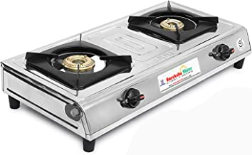 Suraksha Shine 2 Burner Stainless Steel LPG Gas Stove (ISI Marked)