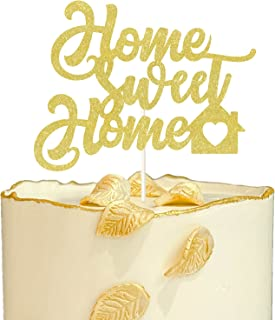 Gold Glitter Home Sweet Home Cake Topper,Welcome Home Sign, New House Housewarming Party Decorations