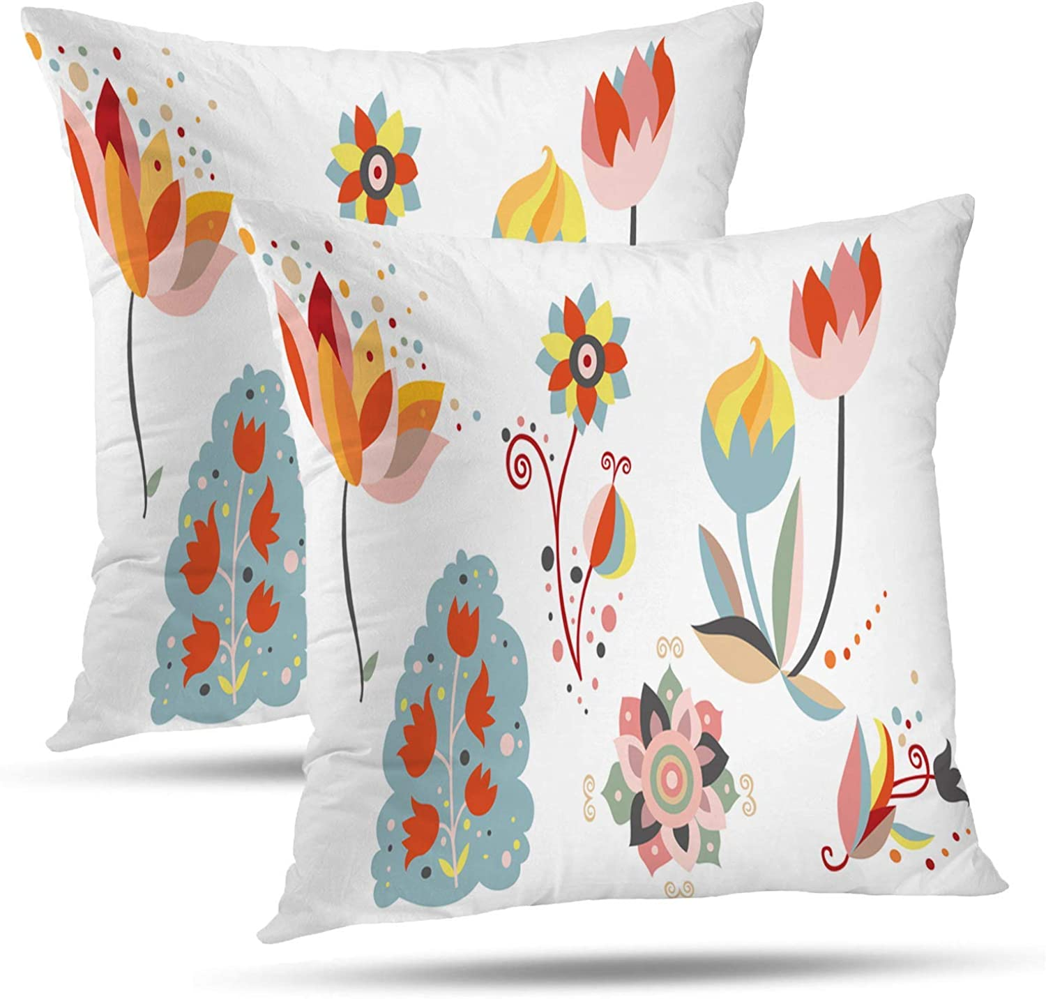 PENGTU Pillows Premium Throw Pillow Covers 18x18 Inch Set of 2, Ornamental Flowers Folk Art Floral Summer Whimsical Blossoms Double Sided Square Pillow Cases Pillowcase Sofa Cushion