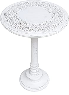 Round End Table Wooden with Single Pillar, Modern Round Coffee Table, Rustic Night Stand, Coffee Table Wood - Living Room End Table for Magazines, Books and Plants-18x22 Inch White