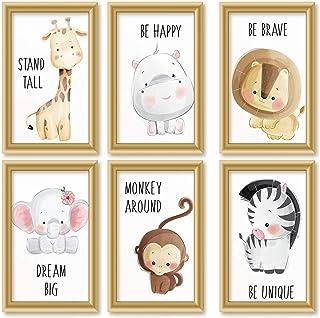 CIUTEK Lot de 6 Affiches pour Chambre d'Enfant et Bébé,Motif Animaux avec Nature Mignonne Pleine de Peintures Murales Enfa...