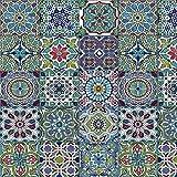 [19,70€/m²] Klebefolie in bunter Fliesen-Optik - Mosaik orientalisch [150 x 67,5cm] inkl. Rakel & E-Book I Selbstklebende Folie für Möbel Küche & Deko I Möbelfolie Mosaik-Optik mit Aztek Ornamente