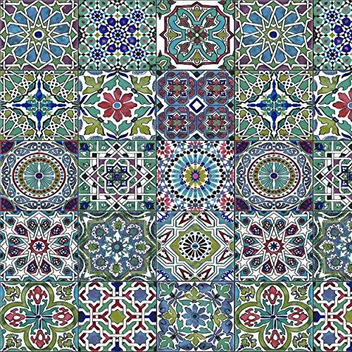 [19,70€/m²] Klebefolie in Fliesen-Optik buntes Mosaik orientalisch I inkl. Rakel & eBook mit Profi-Tipps I Selbstklebende Folie für Möbel Küche & Deko I Möbelfolie Mosaik-Optik Aztek Ornamente