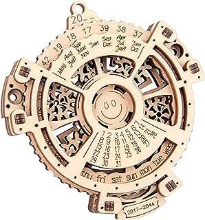OUZHOU Trämaskiner Perpetual Calendar Gear Turning Montering Modell Kreativitet Enkel Skrivbordsprydnader Monterade Pedago...