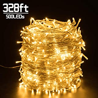Quntis 328FT 500 LEDs Christmas Decorative Lights - Outdoor & Indoor Waterproof LED String Lights 8 Modes Super Long Holiday Fairy Lights UL588 Approved for Home Garden Wedding Party Tree, Warm White