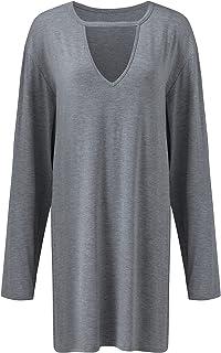 Women's Solid Color V-Neck Long-Sleeved T-Shirt