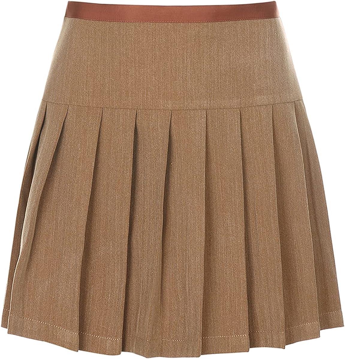 JNCJFS Khaki College Style Pleated Skirt Women's high Waist Mini Skirt Casual tie Skirt