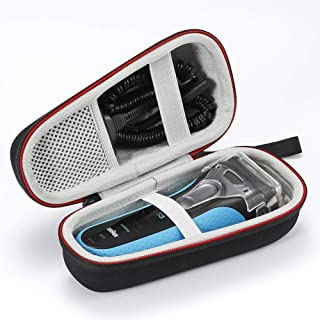 Hard Case Travel Carrying Bag for Braun Series 3 3040s 3010BT 3020 3030s 300s, Braun Series 5 5030s 5147s WF2s 5090cc 5050cc Men's Electric Razor. (Device and Accessories are not Included) - Black