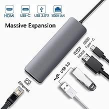 USB C Adapter Hub for MacBook Air 2019/2018,MacBook Pro 2019/2018/2017/2016, iPad Pro 2019/2018,Dongle with HDMI 4K,Type-C(Thunderbolt 3) PD Charging,Gigabit Ethernet,2xUSB 3.0 Dock
