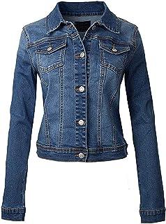 Womens Distressed Denim Jacket Ladies Blue Jean Jackets Size 8 10 12 14 16