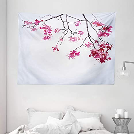 Ambesonne Japanese Tapestry Cherry Blossom Sakura Tree Floral Branch Spring Season Theme Image Wide Wall Hanging For Bedroom Living Room Dorm 80 X 60 Dimgray Black Home Kitchen