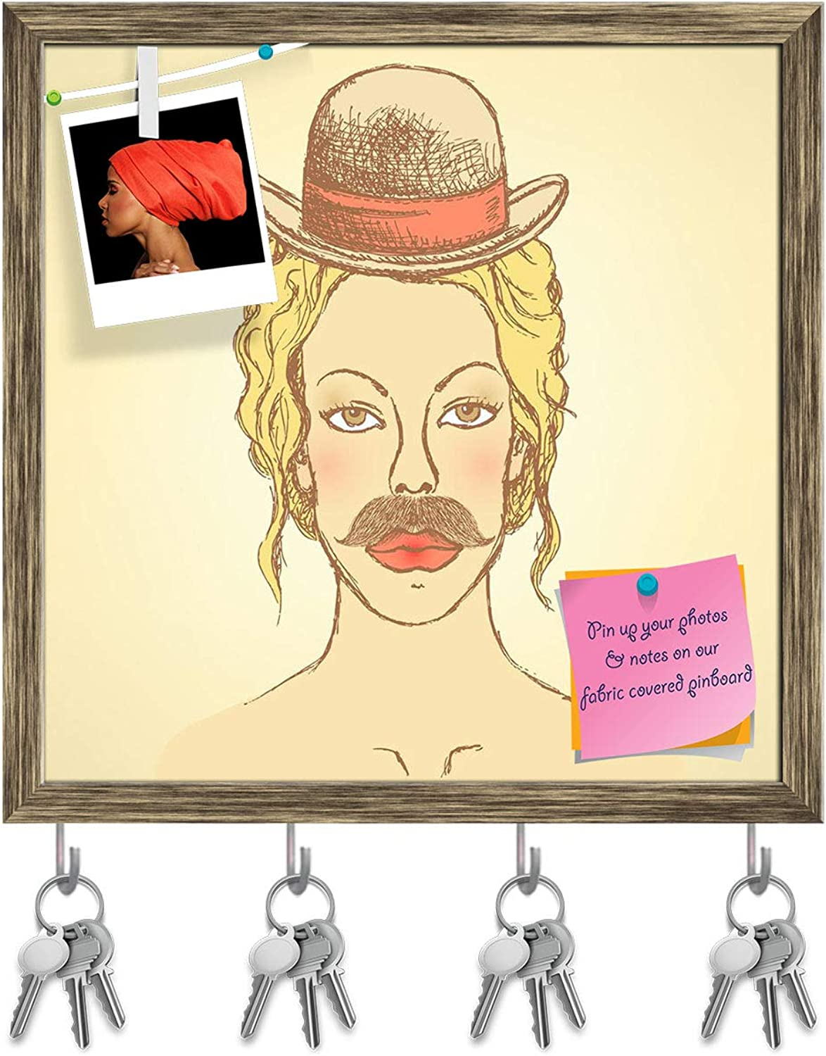 Artzfolio Woman with Hat & Mustache Key Holder Hooks   Notice Pin Board   Antique golden Frame 20 X 20Inch