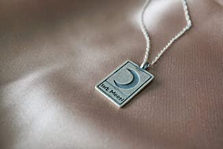 The Moon Tarot Card Necklace - Moon Necklace -Tarot Card - The Moon - Sterling Silver Necklace - Tarot Pendant - Occult Jewelry - Divination - Alchemy