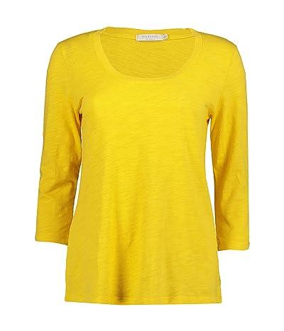 Mod-o-doc Slub Jersey 3/4 Sleeve Scoop Neck Tee (Limone) Women