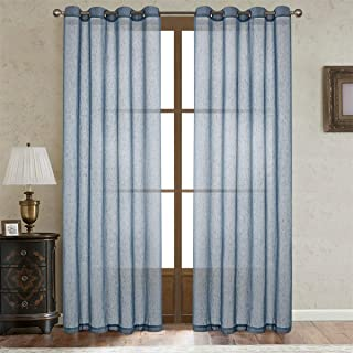 LoyoLady Linen Textures Sheer Curtains Panels for Bedroom 84 Inch Length, Adriatic Blue Grommet Top Window Draperies for Living Room, Set of 2 Pieces 52