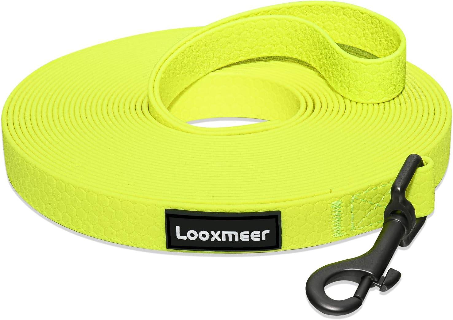 Looxmeer Correa de Adiestramiento Amarillo para Perros 30m, Correa Perro Larga, Cuerda para Perros Manos Libres, Correa Resistente Fuerte para Camping Paseo