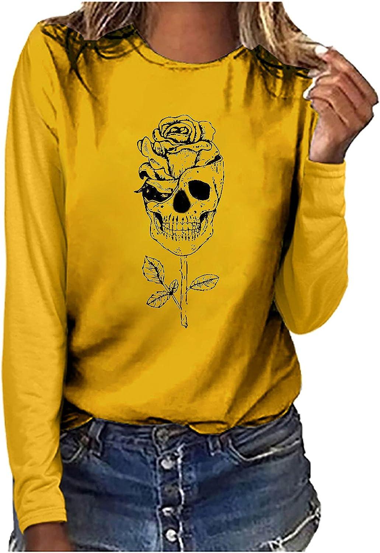 5665 Women's Skull Flower Print T-Shirt Casual Long Sleeve Crewneck Tunic Tops Trendy Loose Fit Sweatshirt Workout Blouses