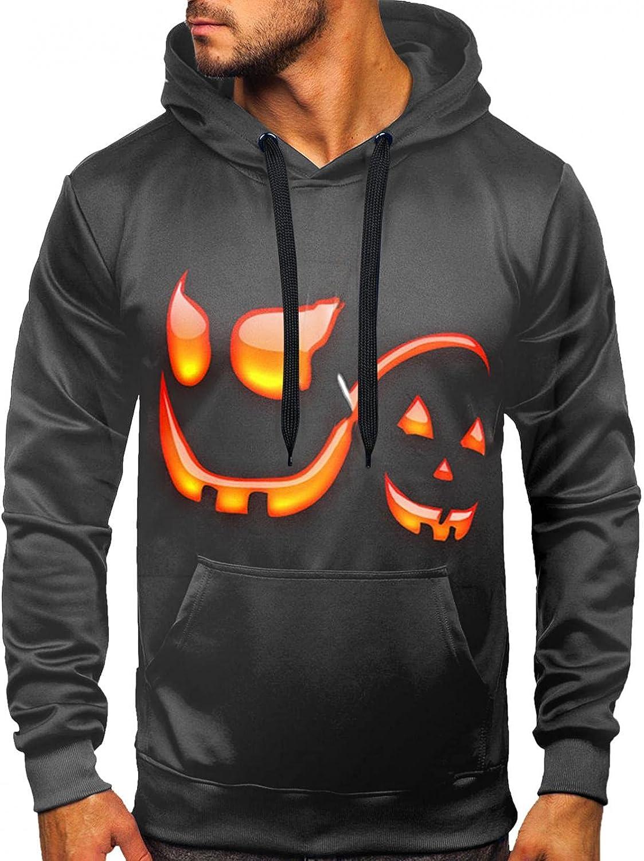 Aayomet Shirts for Men Halloween Printed Pullover Kanga Pocket Slim Hooded Tops Fashion Outwear Hoodies