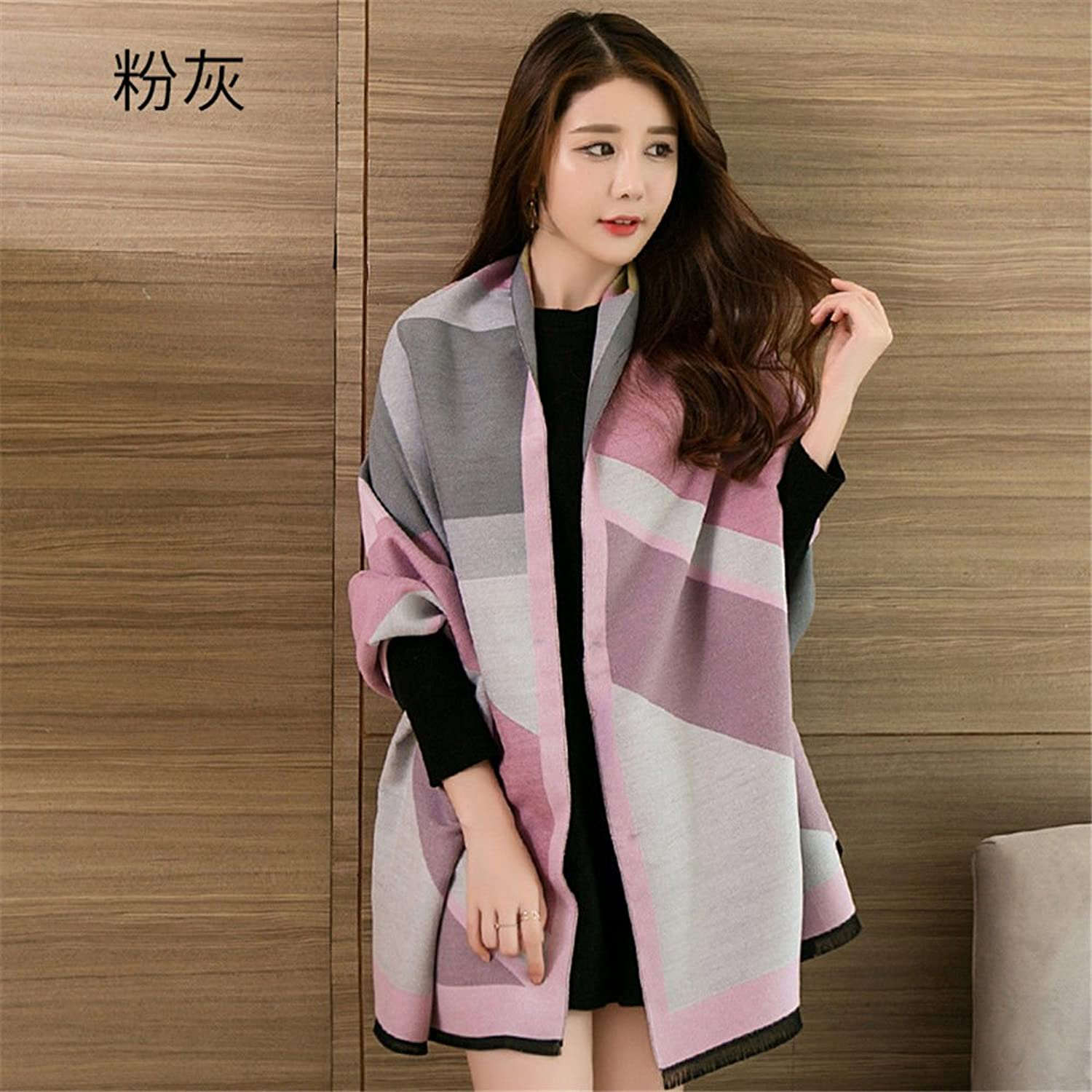 ZHANGYONG Female Shawl in Autumn and Winter in Spring and Autumn AllMatch Super Warm Autumn and Winter Cloak Coat Scarf DualPurpose Thickened 190cm60cm,Fly ash