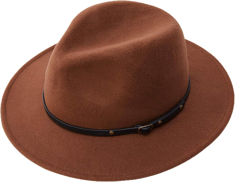 Women Fedora Hats Wide Brim Felt Sun Hat with Belt (Brown)
