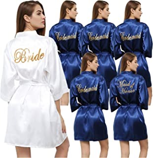 Set of 6 Women's Satin Kimono Robe for Bride Bridesmaid with Gold Glitter Wedding Party Maid of Honor Robes
