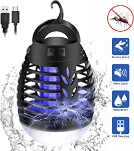 EECOO Insect Killer Electric Flytrap,2-in-1 Mosquito Bug Zappers Camping LED Lamp, IP66 Waterproof Portable Tent Lamp,USB Rechargeable for Indoor Outdoor Home Garden